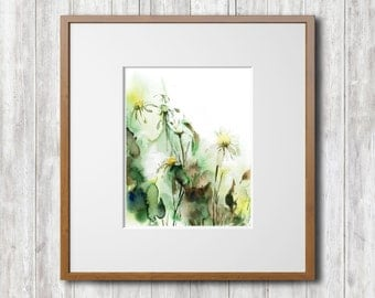 Watercolor Wall  Print, Floral Watercolor Painting Art Print, Field Flowers, Green Painting, Home Decor