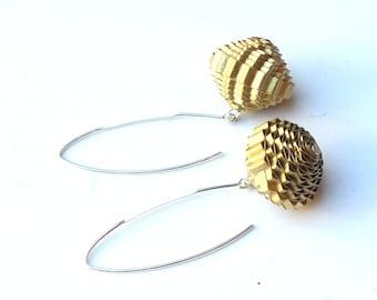 Gold Dangle Earrings, Boho Earrings Lightweight Paper Earrings, 1st Paper Anniversary Gift, V-Wire Geometric Earrings, Paper Bead Jewelry