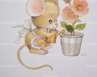 Vintage Note Card - Ruth Morehead Flower Thimble Mouse - Unused Current Thumble
