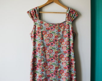 80s floral cap sleeve minidress, size L