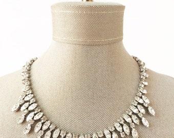 Art Deco Necklace, Bridal Necklace, Vintage Necklace, Silver Necklace, Rhinestone Necklace, Crystal Necklace, Wedding Necklace, Gatsby