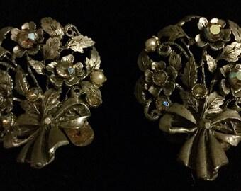 Vintage Shoe Clips By Musi, Silver Tone Aurora Borealis Pearls Rhinestones