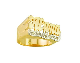 Lee109d-14y - 14K Yellow Gold Diamond Heart Tail Name Ring