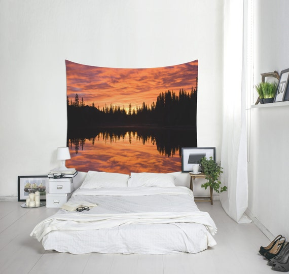 Sunset Tapestry, Nature Wall Art, Pine Trees, Sunset Art, Bedroom Decoration, Dorm Decor