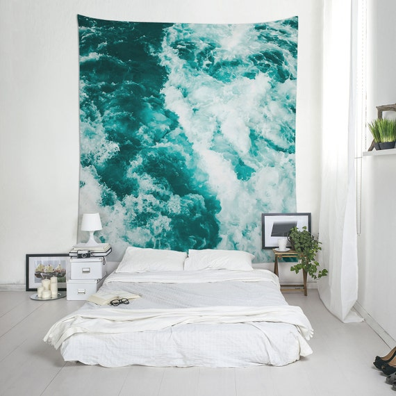 Water Tapestry, Nautical Tapestry, Turquoise Wall Art, Abstract Tapestry, Wall Decorations, Lightweight Wall Art, Photo Tapestries