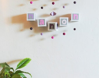 Wall mobile with first name to customize child baby shades of rose and Driftwood