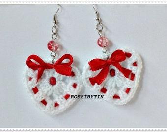 Crochet earrings, Heart earrings, White Crochet Earrings, White and red earrings, Women's Jewelry, Gift for her