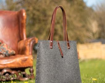 Tote Bag, Shopper Bag, Grey Felt Tote Bag, Grey Felt Shopper, Shoulder Bag, Wool Felt Bag, Felt Shoulder Bag, Carry All Bag