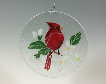 Cardinal Suncatcher, Cardinal Window Hanging, Red Bird, Fused Glass, Glass Suncatcher, Birds