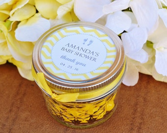 Baby Shower Favors - You Are My Sunshine Baby Shower - Mason Jar Favors Personalized Jar Labels for Candy Favors Yellow and Gray