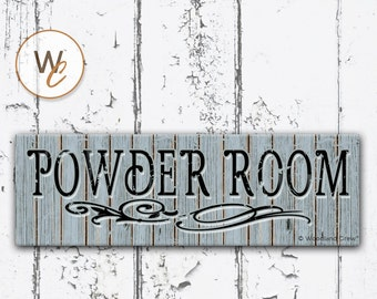 """POWDER ROOM Sign, 5.5""""x17"""" Shabby Chic Wood Sign, Bathroom Distressed Sign, Housewarming Gift, Rustic Blue Bath Sign,  Made To Order"""