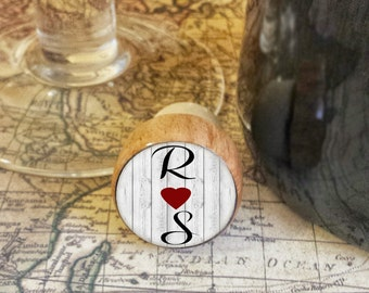 ON SALE Monogram Wine Stopper, Choose Two Letters, R Hearts S, Shabby Chic Wedding Gift, Valentines Day Gift, Personalized Handmade Wine Sto
