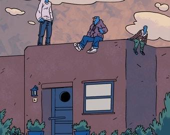 Birdhouse Party Illustration Print