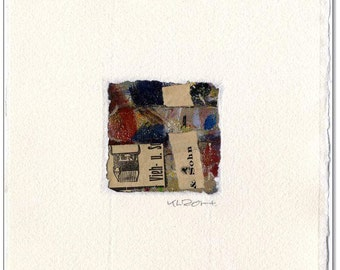 Original collage: No.. 16 / 8 x 8 cm with handmade paper mat