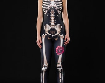 SKELETON GLAM Halloween Costume, Skeleton Catsuit, Skeleton Jumpsuit, Skeleton Bodysuit, Black Catsuit, Halloween Outfit, Halloween Costumes