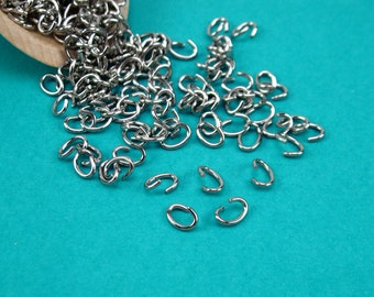 7x5mm 18g oval stainless steel jumpring,7x5mm oval jumpring,7x5mm stainless steel jumpring,7mm 18g silver jumpring,chain maille,250pk(2840)