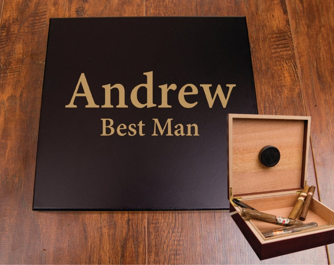Classy Cigar Box Humidor, Gift Idea for Groomsmen Best Man, Personazlied Cigar Box, Gift Box, Cigar Humidor, Engraved Groomsman Cigar Box
