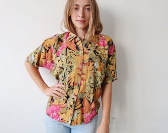 RESERVED! Slouchy Green and Pink Jungle Print Short Sleeve Blouse