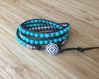 CatMar Beaded Turquoise Wrist Wrap Bracelet with Dark Brown Greek Leather Cord and Antique Silver Celtic Knot Button