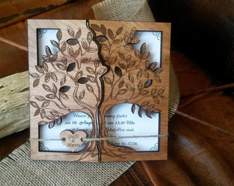 Tree Wood Wedding Invitation Engraved Wedding Invitation Laser Cut Invitation Tree Invitation Custom Invitation Unique Rustic Invitation