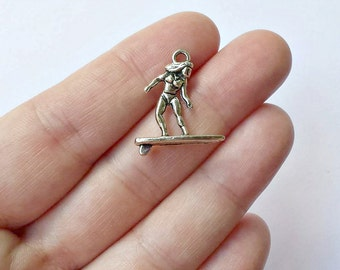 6 Surfer Charms - Surfer Pendants - Surfing - Double Sided - 3D - #S0227