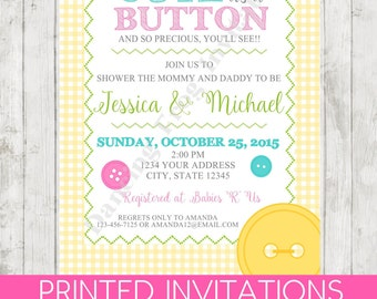 Cute As A Button Baby Shower Invitation   Gender Neutral   Printed Baby  Shower Invitation By