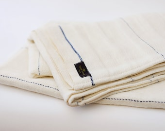 White/ Navy Blue Stripe True Linen Huckaback Bath Towel