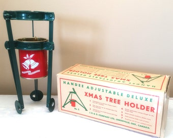 Vintage Christmas Tree Holder, Unused with Original Box