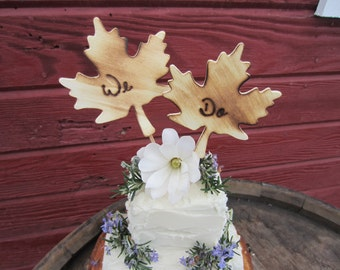 Rustic wedding cake topper, we do cake topper, we do leaf cake topper, rustic cake topper, rustic wedding decor, fall wedding decor