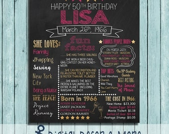 50th Birthday Chalkboard Style Poster | Born in 1966 | Birthday Poster | Customize Colors