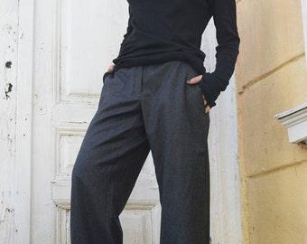 Wide Leg Grey Pants / Long Maxi Pants / Women Pocket Trousers / Loose Casual Pants by METAMORPHOZA
