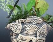 Handmade succulent cacti pinch pot planter with ancient Aztec design