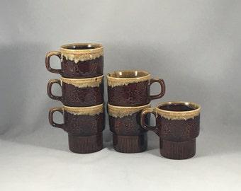 Vintage Ceramic Stacking Mugs   Brown and Tan   Made in Japan   Set of Six   8 oz