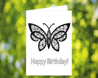 Butterfly Coloring Card: Printable Coloring Birthday Card - Birthday Card Download - Butterfly Birthday Card - Zentangle Birthday Card