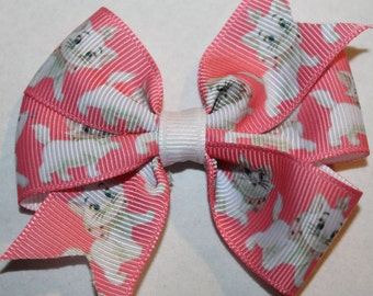 Aristocats Hair Bow, Marie Hair Bow, White cat Hair Bow, White Cat Bow, Aristocats Bow, Marie Bow, Pink Hair Bow, Pink Bow, Pink Cat Bow