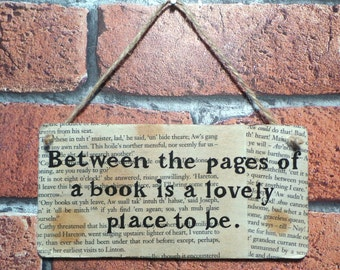 Between The Pages Of A Book... - Vintage Book Page Wooden Wall Art.