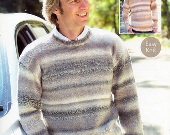 "mens sweater knitting pattern PDF mens v neck or round neck jumper 38-48"" DK light worsted 8 ply mens knitting pattern PDF instant Download"