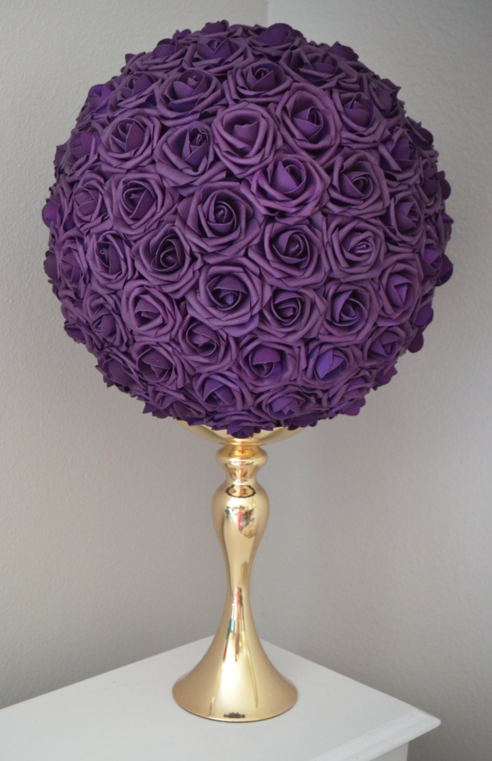 Eggplant purple flower ball wedding centerpiece
