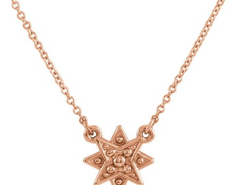 "Solid 14k Rose Gold Star 16-18"" Pendant Necklace with a 10 x 10 mm Petite Star Pendant"