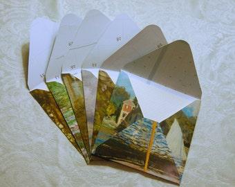 Upcycled Calendar Stationery - Monet (set of 6)