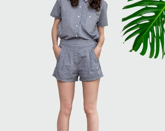 Linen Shorts , High Waisted Shorts , pleated shorts with Pockets , festival clothing , Minimal Chic , 2 piece outfit