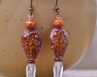 Mood bead earrings with crystal - DayLilyStudio