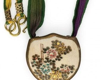 Antique Japanese Satsuma silver pendant with silk ribbon. Pdor428(e)
