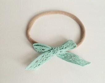 Vintage Lace Bow Headband in Seafoam