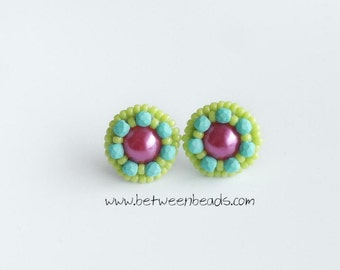 Minimalist Jewellery Stud Earrings Zarcillos Green Apple Turquoise Stud Beaded Embroidery Earrings Spring Flower Colorful Big Stud Large