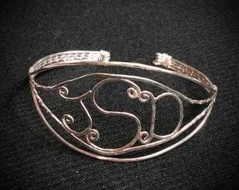 Sterling Monogram Bracelet, Cuff Bracelet, Sterling Silver Bracelet, Monogram