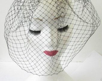Black Vintage Birdcage Veil Beaded Fascinator Headpiece Hair 1920s Flapper 1940s Art Deco Races Headdress Dress Net R23