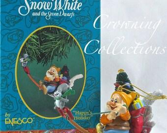 Disney Happy's Holiday Enesco Ornament Happy Snow White and the Seven Dwarfs Shovel Sled Dwarf Christmas