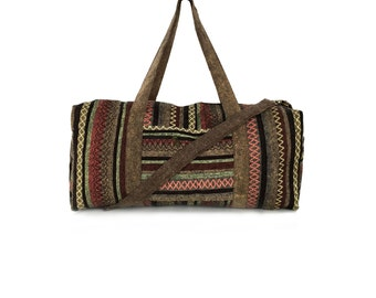 Handmade Travel bag, Hippie Weekender bag for Men & Women, Aztec Overnight bag - Brown hues, Holdall, Boho Duffle bag, Ethnic Tribal bag