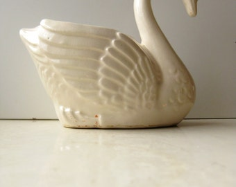 40% off Sale! Brush McCoy Pottery Swan Planter Pale Yellow